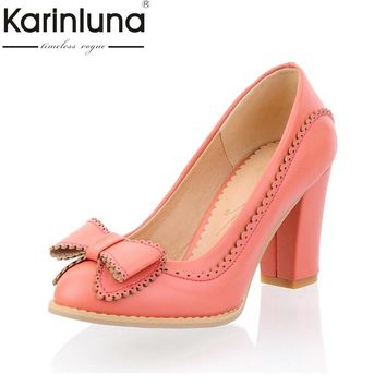 Karinluna Big Size 34-43 Women Pumps Sweet Bowtie Shoes Vintage Chunky High Heels Party Wedding Prom Footwear