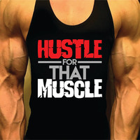 Workout Tank, Bodybuilding Tank Top, Hustle For That Muscle, Racerback Singlet Y-Back, Muscle Tee, Men Fitness, Gym Tank Top, Workout Tank