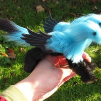 Little Pet Hydra turquoise black posable doll with wings by Jerseydays faux fur plush dragon cute fantasy animal gift box handmade