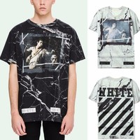 Off White Marble Print T-Shirt