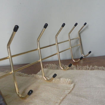 Vintage brass metal rack with black knobs hanging rack for hats coats jewelry 14 hooks