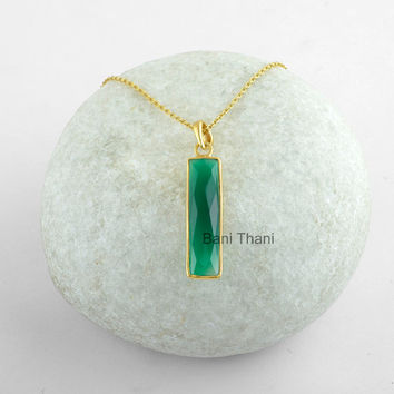Handmade Bar Pendant, Bridal Necklace, Green Onyx 7x30mm Necklace, Micron Gold Plated Sterling Silver Bezel Necklace Jewelry #11508