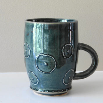 Big Blue Green Mug, Coffee Mug, Ceramic Mug, Tea Mug with handle, Tea Cup, Modern Mug, Ready To Ship, Green Mug, BIg Mug
