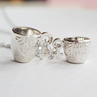 couple necklace,coffe cup neclace,mug charm necklace,best friend,couples jewelry,soul mate,coffee mug pendant,heart jewelry,engagement gift