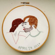 Hand Embroidered Custom Couples Portrait. Hand Stitched Hoop Art. Valentine's Day, Anniversary, or Wedding Gift. Engagement Announcement. 6""