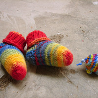 Newborn socks, rainbow striped baby socks, stay-on socks, red yellow green and blue, thin wool baby booties, handknit