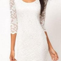 White Half Sleeve Round Neck  Lace Dress