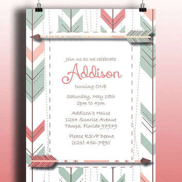 Instant Download-Arrow Tribal Aztec Pink Blue Brown DIY Printable Birthday Party Baby Girl Shower Bridal Wedding Invitation Template