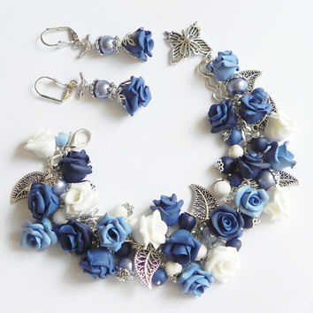 Blue rose Bracelet and earrings Polymer clay jewelry Set Great gift Rose bracelet handmade bijouterie Rose earrings White Blue
