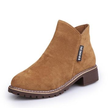 British Style Leather Boot for Women, Flat Heel Boots