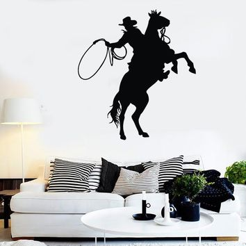 Wall Stickers Vinyl Decal Texas Cowboy Rodeo Rider Silhouette Unique Gift (ig308)