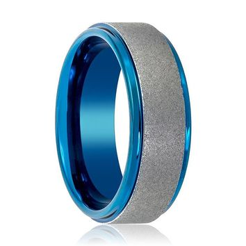 Sandblasted Stepped Edge Tungsten Wedding Ring Blue and Silver