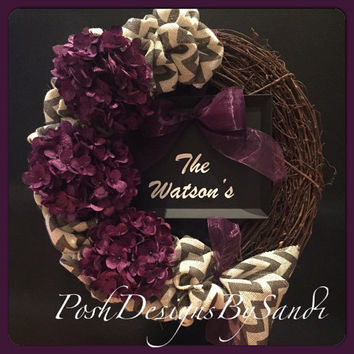 Grapevine Chevron Burlap Wreath Purple Hydrangea Welcome