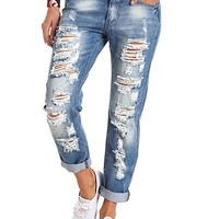 HIGH-WAISTED DESTROYED BOYFRIEND JEANS
