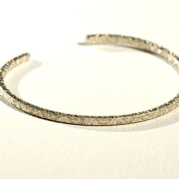 Square Shaped Sterling Silver Stacking Bracelet with Sparkling Pattern