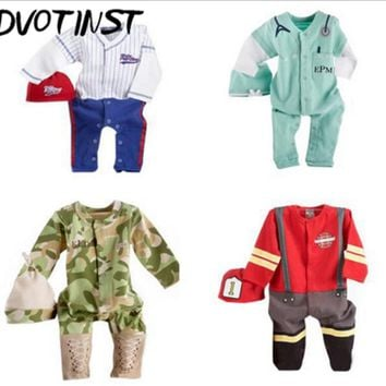 Baby Boys Clothes Full Sleeves Baseball Fireman Army Doctor Cosplay Rompers+Hat Outfits Infant Toddler Jumpsuit Clothing Costume