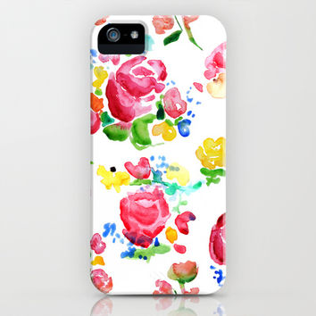 Watercolor Roses iPhone & iPod Case by Mary Kindrick