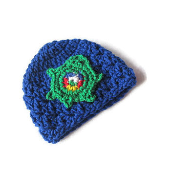 Turtle Baby Crochet Hat, Blue Infant Cap with Green Turtle, Newborn Baby Beanie