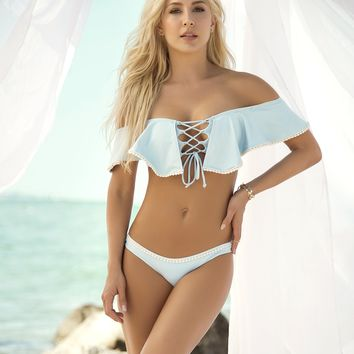 Baby Blue Off the Shoulder Bikini