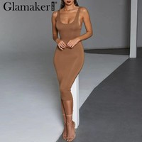 Glamaker Backless knitted sexy bodycon dress Women white elegant v neck maxi dress Female casual club spring party dress vestido