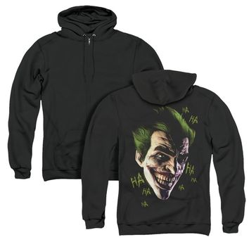 Batman Arkham Origins Full Zip Hoodie Joker Grin Ha Ha Black Back
