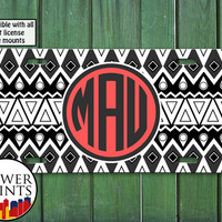 Coral Aztec Tribal Pattern Tumblr Cool Monogram Cute Initials Personalized For Front License Plate Car Tag One Size Fits All Vehicle Custom