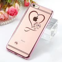 Fashion Bling Crystal Heart Phone Cases For iphone 7 6 6S Plus Case thin Clear Soft TPU Rose Gold Plating Glitter Diamond Cover