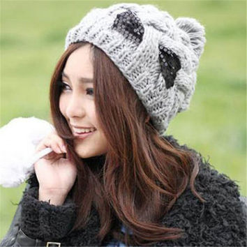 Casual Wool Patchwork Skullies & Beanies Chic Women's Paillette Bowknot Ball Woolen Hat For Woman
