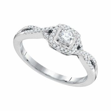 10kt White Gold Womens Round Diamond Solitaire Twist Bridal Wedding Engagement Ring 1-3 Cttw