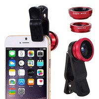 3 in 1 Wide Angle Macro Fisheye Lens Universal Camera Mobile Phone Lenses Fish Eye Lentes For iPhone 6 7 Smartphone Microscope