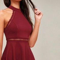Reach Out My Hand Burgundy Lace Skater Dress