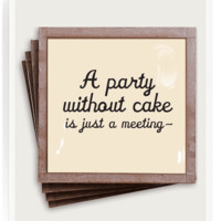 A Party Without Cake Copper & Glass Coasters, Set of 4