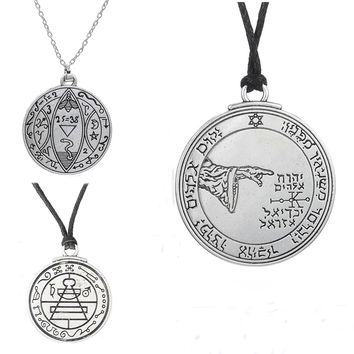 vintage bijoux 5th Pentacle of the Moon Talisman medallion key of solomon seal pendant Wicca Male Necklace Fashion Jewelry Cheap