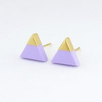 Lilac - Gold Dipped Triangle Stud Earrings