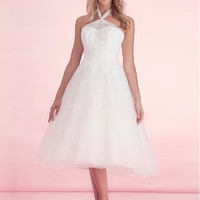 [73.33] Glamorous Tulle Halter Neckline A-Line Bridesmaid Dresses With Lace Appliques - dressilyme.com