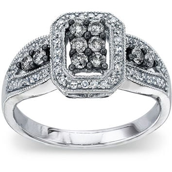 SilverMist Sterling Silver 1/2ct TDW Natural Grey and White Diamond Ring (H-I, I2) | Overstock.com Shopping - The Best Deals on Diamond Rings