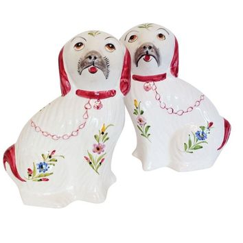 Pre-owned Pink Staffordshire Dog Figurine Statues - A Pair