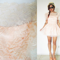 Vintage old rose orange peace lace puff sleeves party cocktail wedding mini