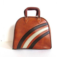 Vintage 1970s Brown and White Bowling Bag Overnight Travelling Luggage