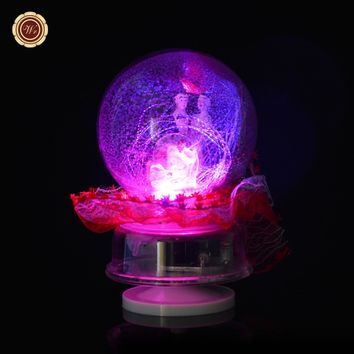 WR Beautiful Round Lace Snow Ball Christmas Ideas Unique Glass Balls New Year Gift Wedding Decor Toy Models St. Valentine Day