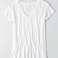 AEO Soft & Sexy V-Neck Pocket T-Shirt, Natural White