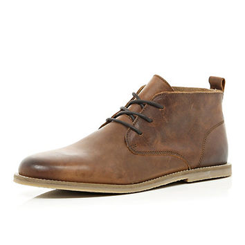 River Island MensBrown leather chukka boots