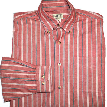 Vintage Striped LL Bean Shirt Mens Size Small Reg