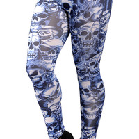 Blue Lots Of Skulls Leggings Design 12
