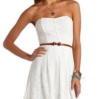 BELTED STRAPLESS LACE DRESS