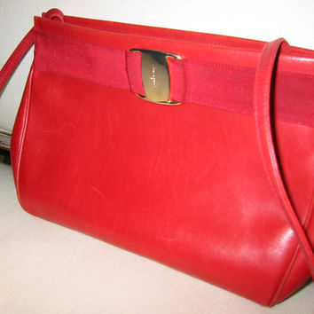 Salvatore Ferragamo Red Leather Clutch Cross Body Long Strap Handbag