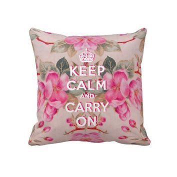 Girly keep calm..Vintage pink elegant floral roses Throw Pillows from Zazzle.com