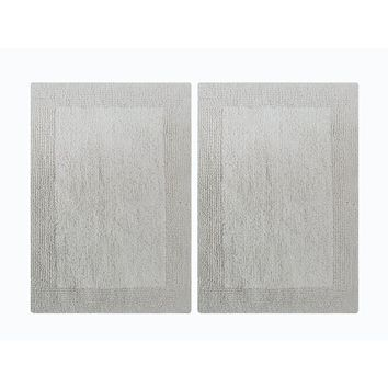 Benzara CHN-CHB019-4 Splendor Reversible Step Out Bath Mat Rug Set-White
