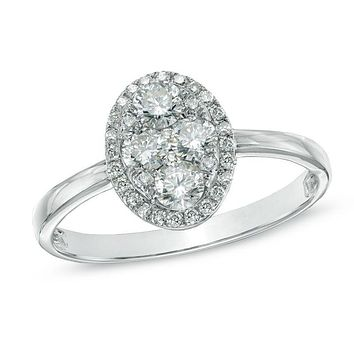 5/8 CT. T.W. Composite Oval Diamond Engagement Ring in 14K White Gold