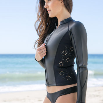 AMUSE SOCIETY - Halia Laser Cut Neoprene Jacket | Black Sands